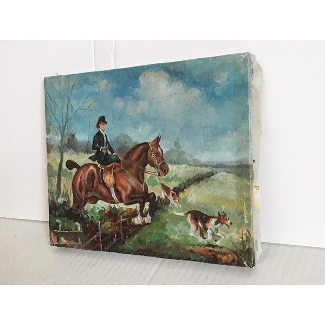 Equestrian Steeplechase with Hunting Hounds Petite Oil Painting - Image 5 of 9