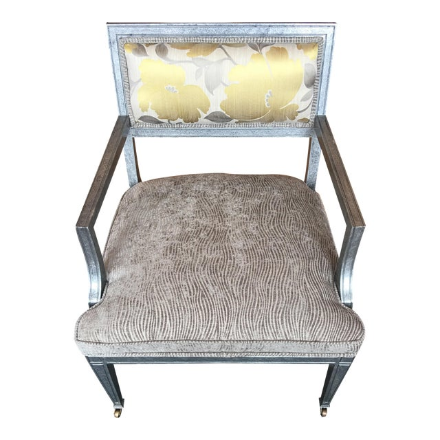 Transitional Accent Chair in Custom Finish & Upholstered For Sale