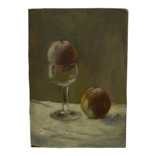 """Frederick McDuff Original """"Apple in Glass"""" Painting on Board"""