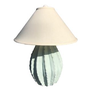 1980s Barrel Cactus Table Lamp With Shade For Sale