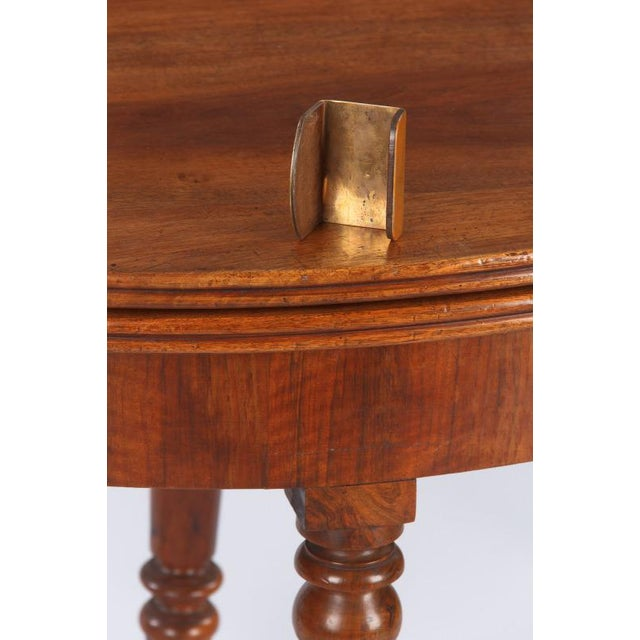 1830s Vintage French Louis Philippe Demi Lune Walnut Table For Sale - Image 9 of 10