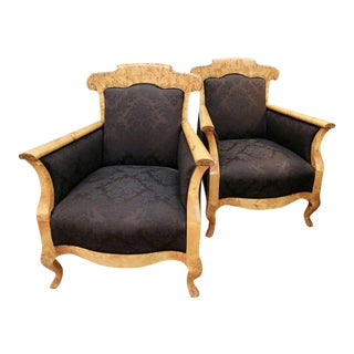 Biedermeier Olive Wood Armchairs - a Pair