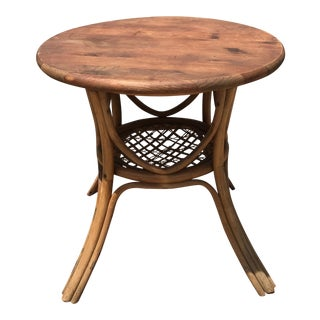 Mid-Century Round Rattan Table For Sale