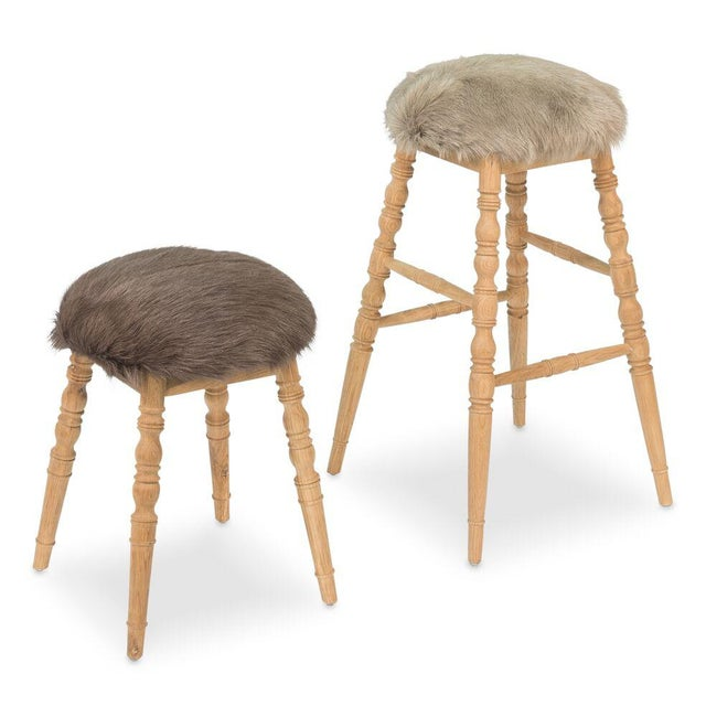Hollywood Regency Sarreid LTD Brown 'Winoma' Stool For Sale - Image 3 of 7