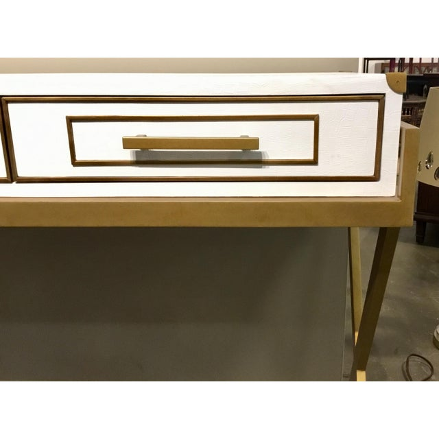 2010s Currey & Co. Modern Regency White and Brass Console Table For Sale - Image 5 of 7