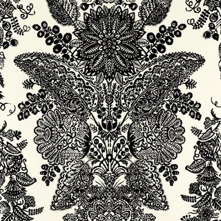 Sample - Schumacher Lace Wallpaper in Black & Ivory For Sale