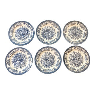 Royal Staffordshire by J&g Meakin Blue Avondale Dinner Plates - Set of 6 For Sale