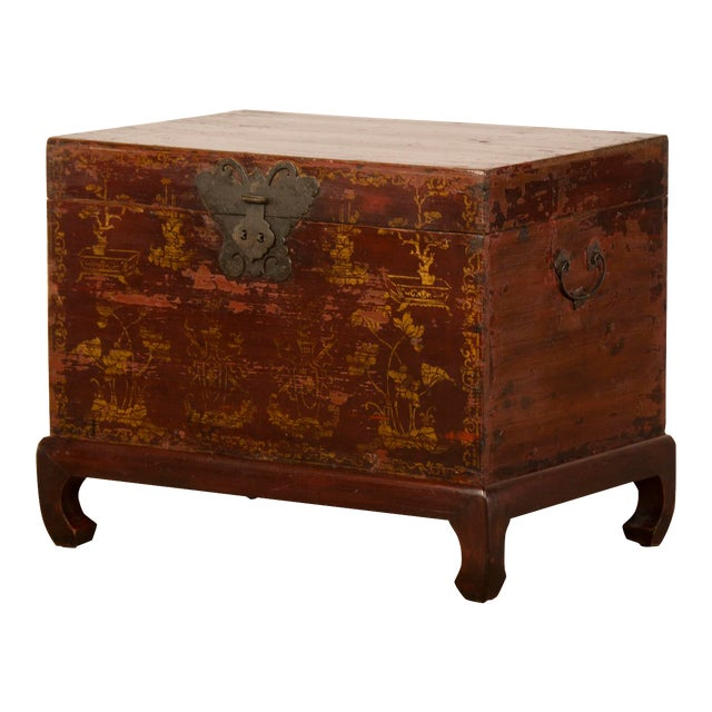 Red Lacquer Antique Chinese Trunk Kuang Hsu Period circa 1875 For Sale