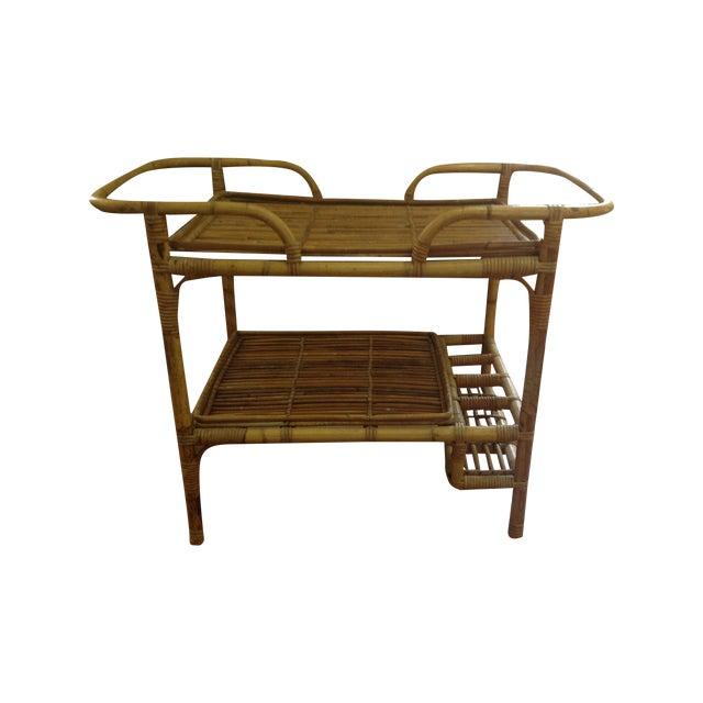 Vintage Rattan Bar Cart - Image 1 of 5