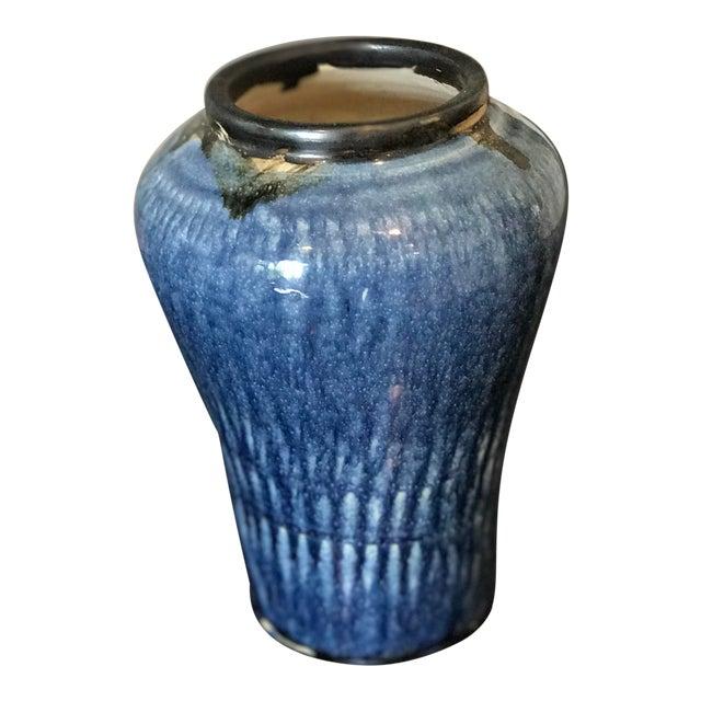 Vintage Signed Studio Pottery Heavy Blue & Black Drip Glaze Vase - Image 1 of 6