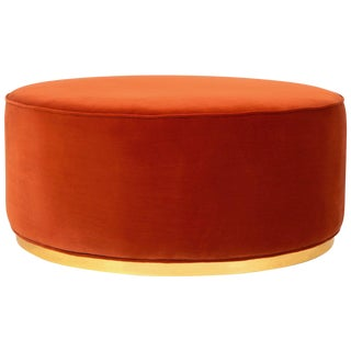 Chubby Ottoman in Paprika Velvet For Sale