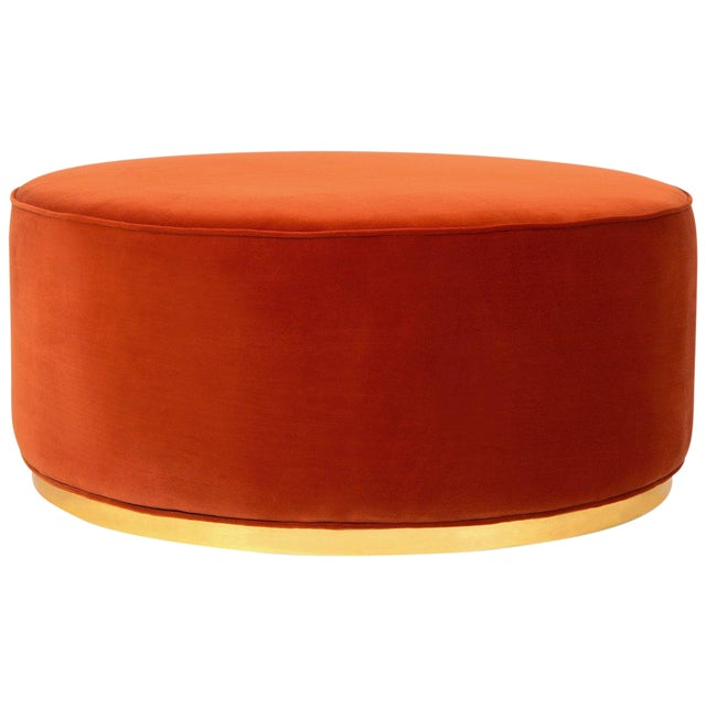 Swell Chubby Ottoman In Paprika Velvet Machost Co Dining Chair Design Ideas Machostcouk
