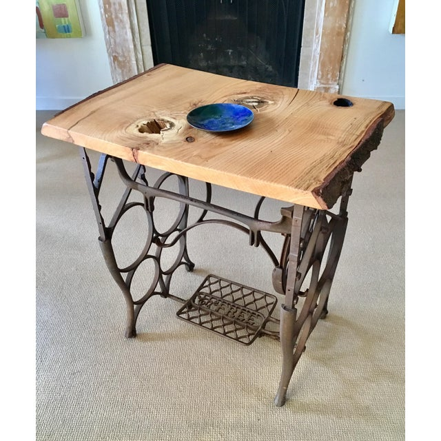Live Edge Console with Sewing Machine Base - Image 10 of 10