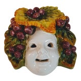 Image of Vintage Italian Art Pottery Faience Face Mask For Sale