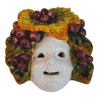 Vintage Italian Art Pottery Faience Face Mask For Sale