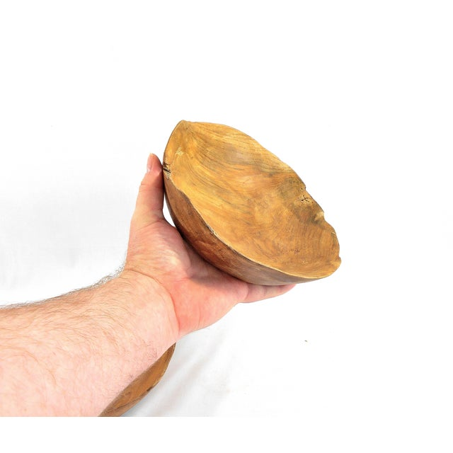 Brown Hand Carved Solid Cherry Wood Bowl For Sale - Image 8 of 9