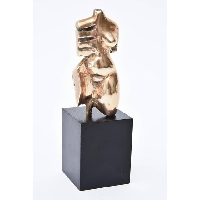 Mid-Century Modern Signed Initialled Mid Century Bronze Sensual Abstract Cubist Torso Sculpture For Sale - Image 3 of 11