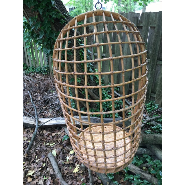 1970s Vintage Rattan Hanging Chair For Sale - Image 9 of 11