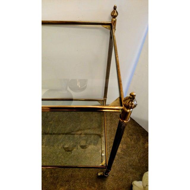 Vintage Brass Bar Cart For Sale - Image 7 of 9