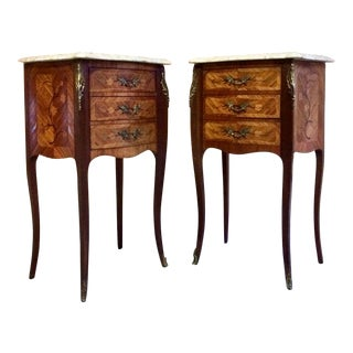 French Louis XV Marble Bombe Commode Bedside Cabinets Tables Set 1 - A Pair For Sale