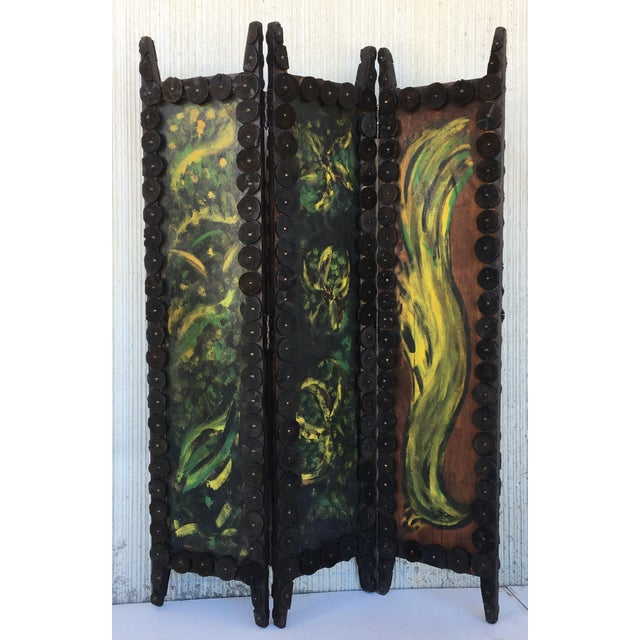 About Unique and highly decorative, work of art folding screen. Some will call this amazing and practical size folding...
