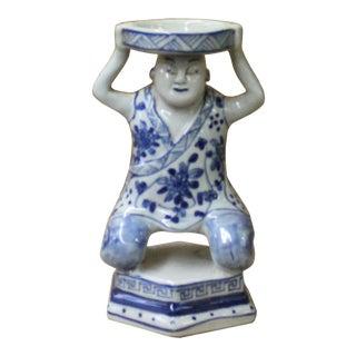 Oriental Vintage Ceramic Blue White Man Holding Dish Figure For Sale