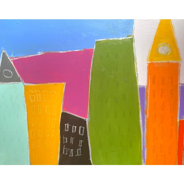 """Sarah Trundlle Contemporary Abstract Cityscape """"Urban Color"""" Painting For Sale"""