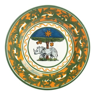 """Rhino Salad Plate 9"""", Contrade Dinnerware From Siena For Sale"""