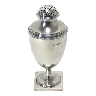 1910s Antique Sheffield England Sterling Silver Sugar Shaker For Sale