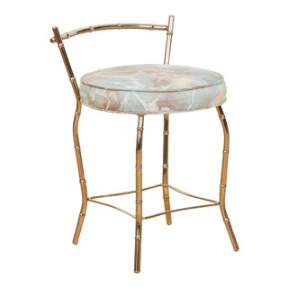 Vintage 1980s Chrome Faux Bamboo Vanity Stool For Sale