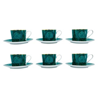 1970s Neiman Marcus Malachite Porcelain Tea or Coffee Cups and Saucers - Set of 6 For Sale