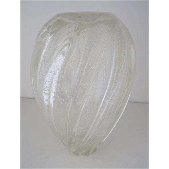 1980s Vintage Murano Glass Vase With Silver Flecks For Sale - Image 5 of 13
