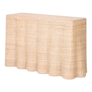 Wicker Drapery Ghost Console Table For Sale
