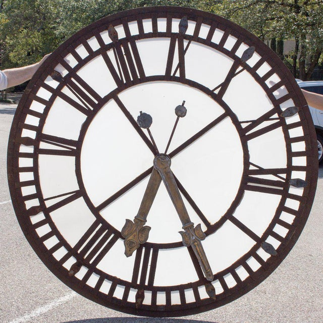 19th C. French Iron and Glass Church Clock Face - Image 8 of 11