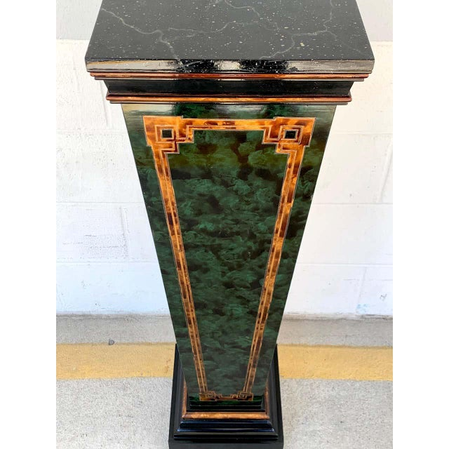 Mid 20th Century Neoclassical Faux Painted Green and Gilt Pedestals - a PAir For Sale - Image 5 of 8