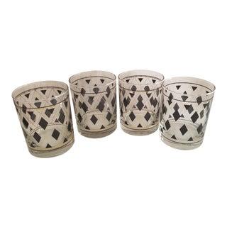 1950's-1960's Argyle Black and Gold Diamond Shapes Rocks Glasses - Set of 4 For Sale
