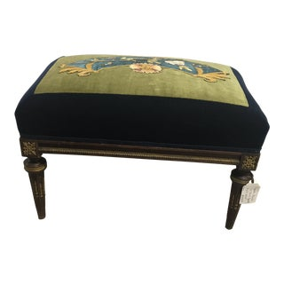 French Bird Tapestry Silk Velvet Bench
