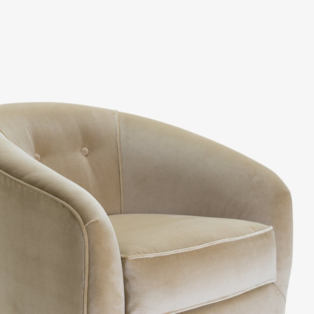 Swivel Tub Chairs in Camel Velvet With Polished Brass Bases, Pair For Sale In New York - Image 6 of 10