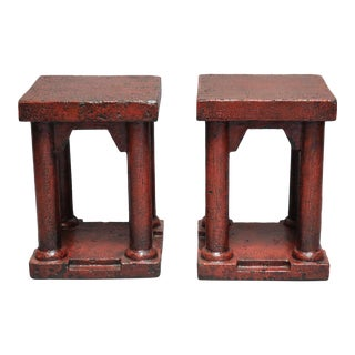 Elm Red Lacquered Column Leg Stools - a Pair For Sale