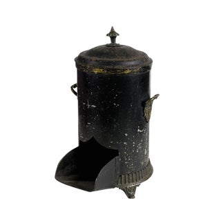 Mid-19th Century Vintage English Black Coal Scuttle For Sale