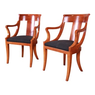 Baker Furniture Cherry Wood Regency Armchairs, Pair For Sale