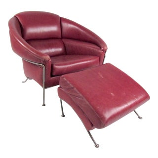 Milo Baughman Leather Club Chair With Ottoman For Sale