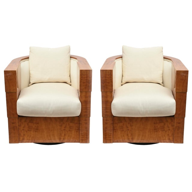 Pace Exotic Camino Wood and Upholstered Swivel Club Chairs - a Pair For Sale - Image 10 of 10