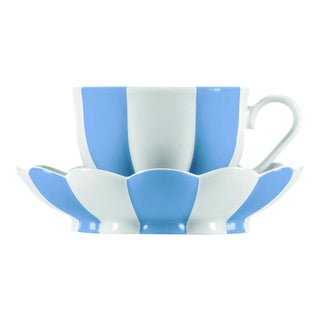 """Melon"" Mocha Cup with Saucer by Josef Hoffmann Light Blue For Sale"