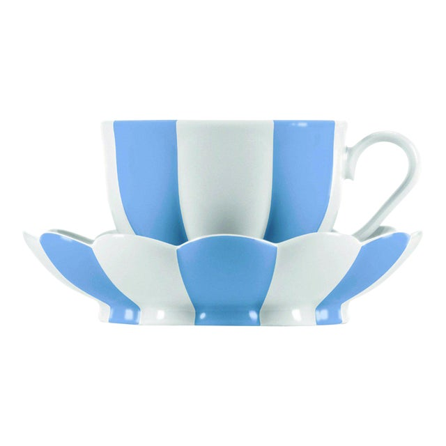 """""""Melon"""" Mocha Cup with Saucer by Josef Hoffmann Light Blue For Sale"""