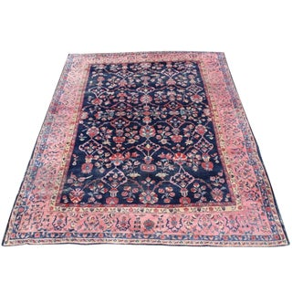 Antique Persian Saruk Navy Pink Rug - 9′4″ × 13′ For Sale