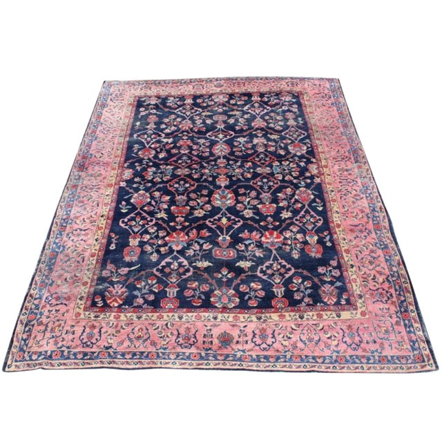 Multicolor Antique Saruk Rug - 9′4″ × 13′ For Sale