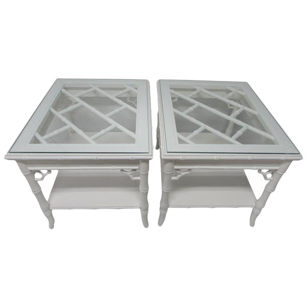 Baker Chinese Chippendale Lacquered Side Tables - A Pair - Image 1 of 6