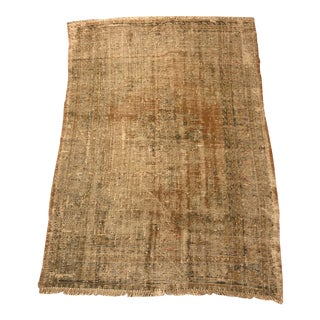 1960s Oushak Handmade Distressed Rug- 4′2″ × 5′10″ For Sale