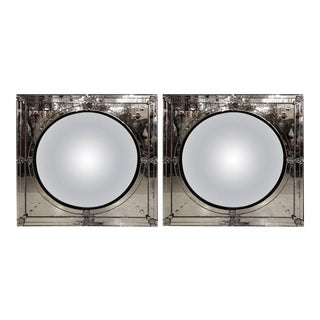 Pair of Modern Convex Center Square Framed Wall or Console Mirrors